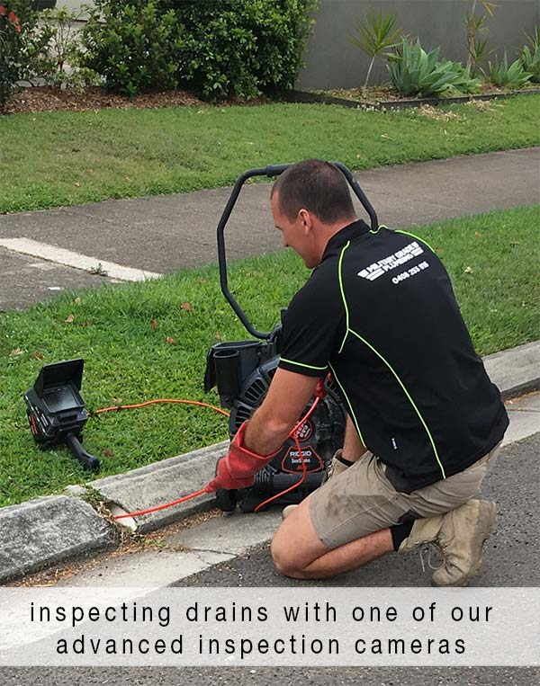 inspecting drains with one of our advanced inspection cameras